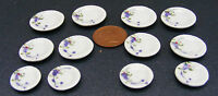 1:12 Scale 12 Piece Hand Painted Ceramic Plate Set Dolls House Miniature TS15