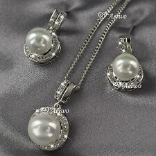 18K GF WHITE GOLD MADE WITH SWAROVSKI CRYSTAL PEARL NECKLACE STUD EARRINGS SET