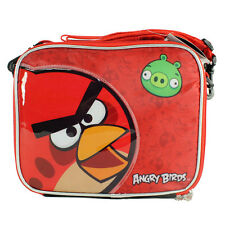 Angry Birds Insulated Lunch Bag Black Red w strap NEW