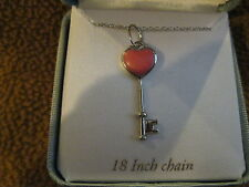 """18"""" Sterling Silver Chain/Necklace w/ Pink Heart Stone Key Pendant-New!"""