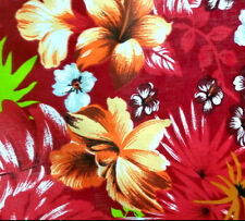 "HAWAIIAN PRINT LUAU FLORAL POLY COTTON FABRIC 60"" BY THE YARD HAWAII"