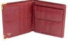 Auth Vintage CARTIER Paris Bordeaux Leather Bifold Mini Wallet Coin Case France