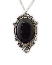 Black Cabochon in Silver Frame Pendant Necklace Vampire Jewelry NK-620B
