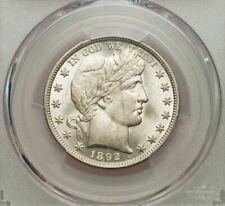1892 Barber Half Dollar PCGS MS63 Stunning White Coin!