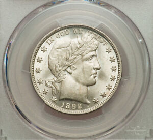 1892 Barber Half Dollar PCGS MS63 Stunning White Coin!