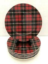 "Set of 6 Pottery Barn Landon Red & Black Plaid Salad Plates 9"""