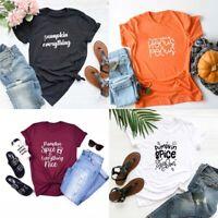 Pumpkin T-shirt Cute Halloween Shirt Food Graphic Tee Tops Thanksgiving Gift