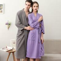 Womens Mens Cotton Waffle Bath Robe Sweat Kimono Bathrobe Summer Nightgowns US