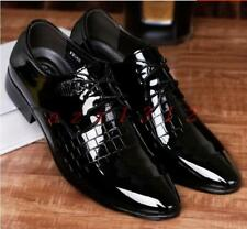 Hot New Mens Dress Shoes Patent Leather Pointy Toe Lace Up Shiny Business Casual