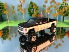 1/64 Custom Lifted Chevrolet Silverado Black White G5 Lift Kit, Dual Pipes