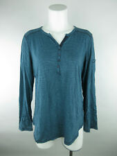 5b79236f190c1 White Stag Women sz L Cotton Blend Y-Neck Henley Striped Teal Blue Blouse  Top