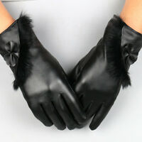 PU Leather Gloves Warm Women Mittens Gloves Winter Gloves Touch Screen Gloves
