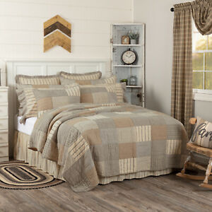 VHC Brands Farmhouse King Quilt Grey Patchwork Sawyer Mill Cotton Bedroom Decor