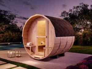 Fass-Sauna Ron Gartensauna Sauna Fass Saunahaus Außen mit Dacheindeckung B Ware