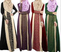 Women Long Sleeve Dress Abaya Kaftan Muslim Islamic Cocktail Maxi Dresses Arab