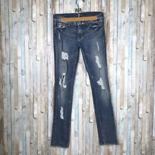 7 For All Mankind 27 Roxanne Skinny Vintage Nikita Distressed Destructed Jeans