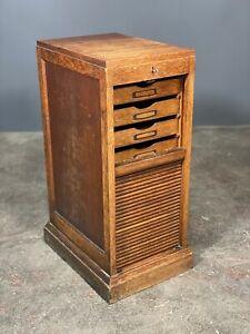 Oak Tambour Door Filing Cabinet c1910