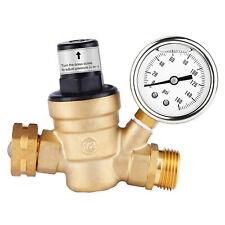 "Water Pressure Regulator For RV Lead-free Brass Adjustable Reducer Gauge 3/4"""