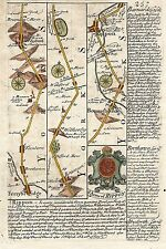 Antique map, Road from Ferrybridg to Barnard Castle