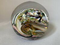 VINTAGE Glass Studio Paperweight Hand Signed Numbered 1988 Goranowski Multicolor