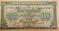 10 Francs 2 Belgas 1943 KM#122 Belgie Belgique 10-Frank Belgium Banknote
