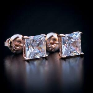 Men's Small CZ Rose Gold Solitaire Princess Cut Pink Screw Back Stud Earrings
