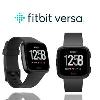 Fitbit Versa Health Edition Fitness Tracker Activity Black Large Band Smartwatch