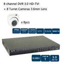 8CH HD-TVI DVR + 1080P NIGHT VISION 3.6MM Lens TURRET 8 CAMERA CCTV Security