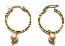 Hoop Yellow Gold Fine Pearl Earrings