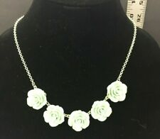Silver Colored Chain 5 Green Rose Necklace