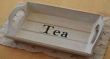 TEETABLETT Holztablett Dekotablett Holz Tea Tablett Shabby Chic Landhaus Stil