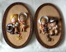 Homco Cowboy/Cowgirl Set of (2) Plaques 1981 Western / Pioneer Theme Kids Room