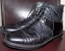 Tsubo Men's Winslow II Raven/Black Wingtip Leather Boots $240 Ret. 8 VGUC