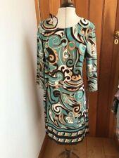 chetta b aqua brown swirl 70s 60s shift dress size 10 bnwt