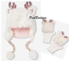 NWT JUSTICE Girl's Deer Earflap Beanie Hat Gloves Set Christmas Stocking Stuffer