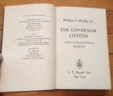 William F. Buckley, Jr. *The Governor Listeth* Hardcover 1963 BUCKLEY