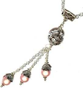 Long Silver Pink Lariat Cluster Necklace Chandelier Pendant Gypsy Boho Hippy
