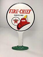 "Texaco Fire-Chief Cast Iron Door Stop/ Sign, Gasoline Advertising,12-1/4"""