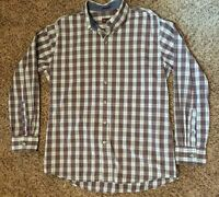 IZOD Men's Shirt Large Long Sleeve Button Down Plaid 100% Cotton Red/Black/White