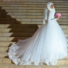 Muslim A-Line  Wedding Dresses with Hijab Gelinlik Long Sleeves Lace Bridal Gown