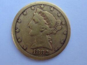 1882-CC LIBERTY HEAD HALF EAGLE $5 DOLLAR GOLD COIN CARSON CITY RARE DATE