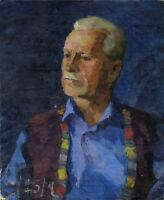 """Russischer Realist Expressionist Öl Leinwand """"Mann in Blau"""" 55x45 cm"""