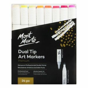 Mont Marte Premium Marker Set - Dual Tip Alcohol Ink Art Markers 24pc