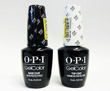 OPI GelColor Soak off Nail Polish Gel Color Base Coat + Top Coat .5oz/15mL ~2ct~