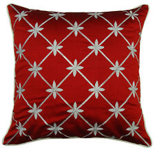 Red Floral Embroidered Cushion Cover Poly Dupion Square Decorative Pillow Case