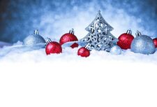 Winter Snow Backdrop Christmas Tree Ornaments Background Studio Photo Prop 5x3ft