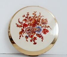 Stratton Convertible Powder Compact Enameled Fall Flowers Mirror Empty Clean EUC