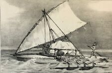 Pirogue des naturels de Halahou île Viti Levu Fidji  gravure 1843 Bateau