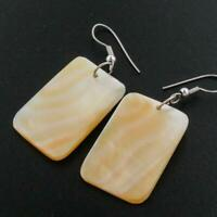 """1 9/16"""" SQUARE GOLD MOTHER OF PEARL SHELL earrings"""