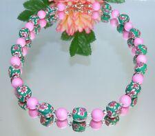 WUNDERSCHÖN   KETTE   FIMOPERLE  Würfel Strass mehrfarbig grün  rosa 480e
